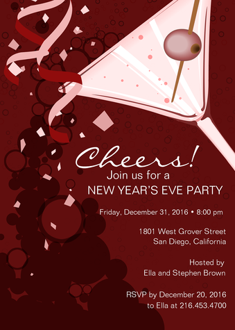 Holiday Party Invitations, New Year's Toast Design