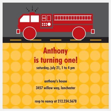 Fire Engine Fun Kids' Birthday Invitations