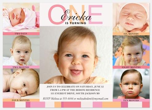 Six x One Pink Kids' Birthday Invitations