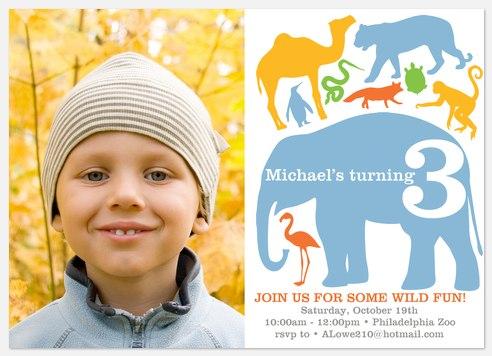Triple Wild Kids' Birthday Invitations