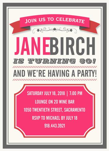 Adult Birthday Party Invitations, Party Trellis Design