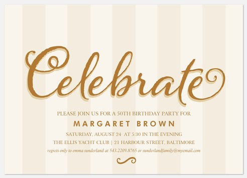 Classy Celebration Adult Birthday Invitations