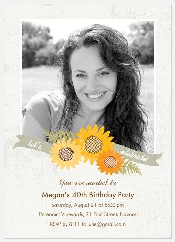 Summer Bloom Adult Birthday Invitations