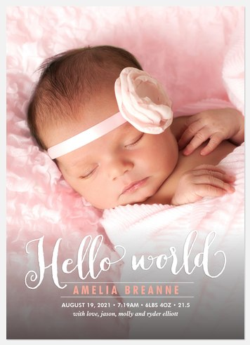 Sweet Hello Baby Birth Announcements