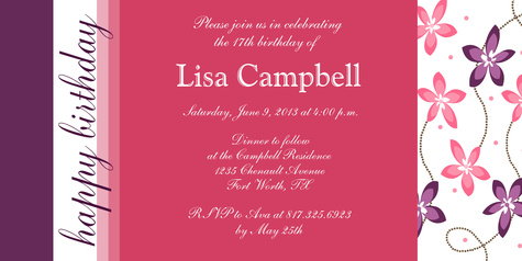 Teen Birthday Invitations, Simply Pretty Design