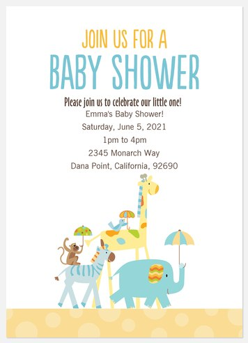 Animal Crackers Baby Shower Invitations