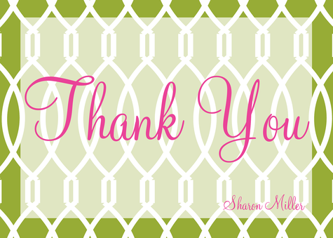 Thank You Cards , Grass Trellis Design