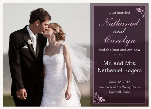 Wedding Announcements, Burgandy Band Design