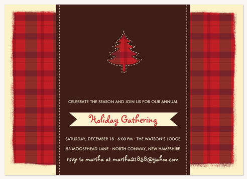 Holiday Party Invitations, Ruby Plaid Party Design