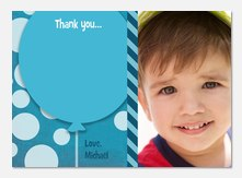 Circles & Stripes Blue -  Photo Thank You Cards