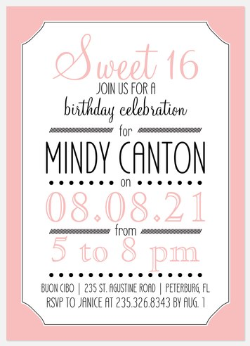 Sixteen Candles Kids' Birthday Invitations