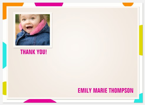 Color Cool Pink Thank You Cards