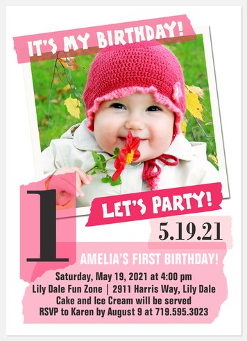 Raspberry Ice Kids' Birthday Invitations