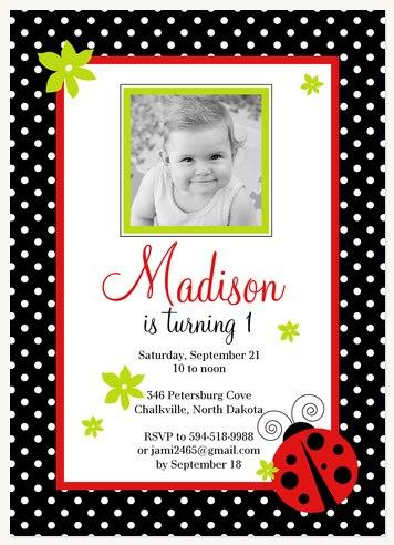 Kids Birthday Invitations Ladybug Frame