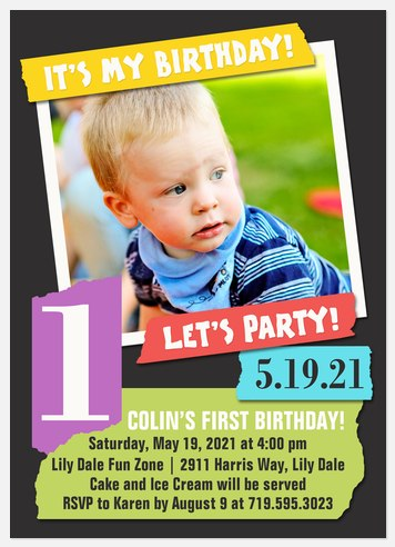 Scrap Book Kids' Birthday Invitations