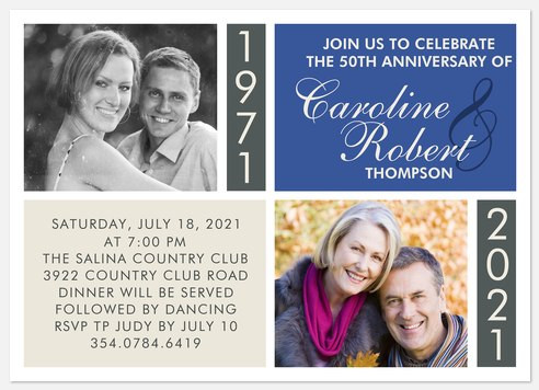 Past & Present Anniversary Invitations