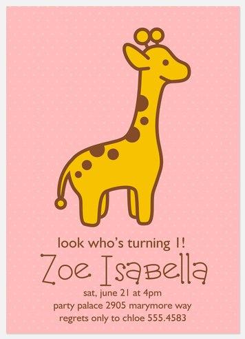 Sweet Giraffe Kids' Birthday Invitations