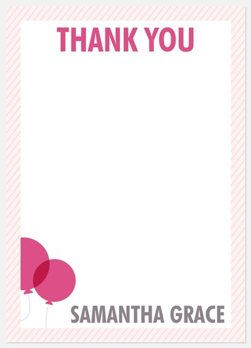 Two Pink Pin Thank You Cards