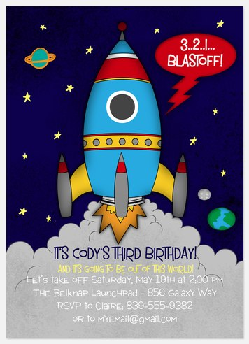 Birthday Blastoff Kids' Birthday Invitations