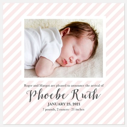 Sheer Pink Baby Birth Announcements
