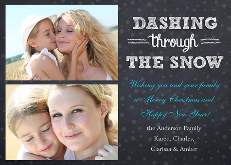 Personalized Holiday Cards, Snow Dash Design