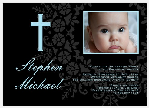 Blessing Blooms Blue Baptism Christening Invitations