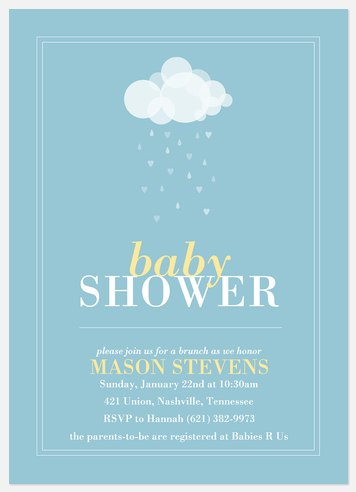 Sweet Blue Showers Baby Shower Invitations
