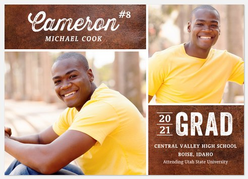 Leather Letterman Graduation Cards