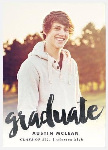 Charcoal Script Graduation Cards