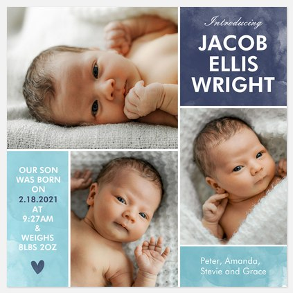 Joyful Heart Baby Birth Announcements