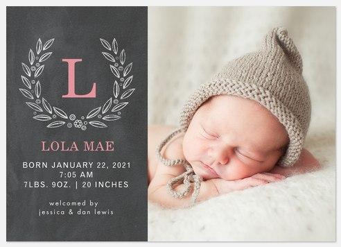 Woodland Laurel Baby Birth Announcements