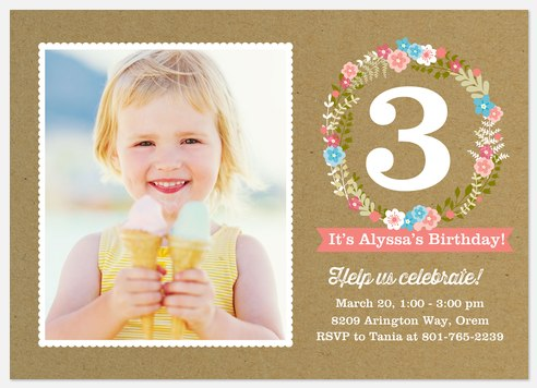 Floral Wreath Kids' Birthday Invitations