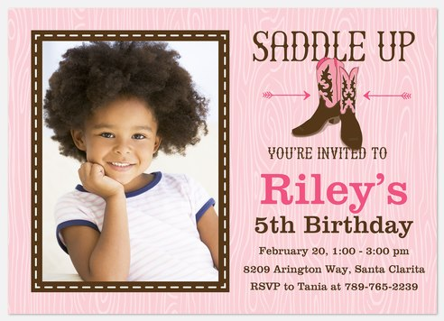 Giddy-Up Cowgirl Kids' Birthday Invitations