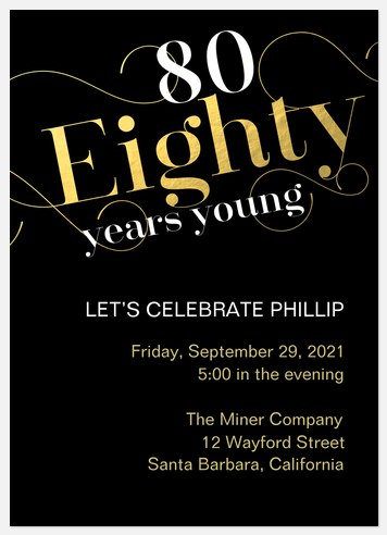 80 Years Young Adult Birthday Invitations