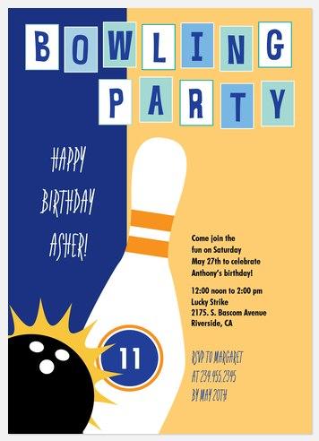 Lucky Strike Kids' Birthday Invitations