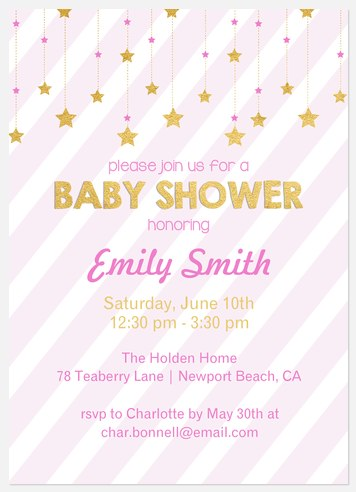 Little Starlight Baby Shower Invitations
