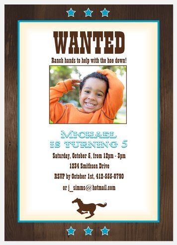 Most Wanted Boy! Kids' Birthday Invitations