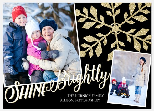 Glittering Snowflakes  Holiday Photo Cards