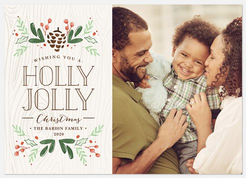 Rustic Holly  Holiday Photo Cards