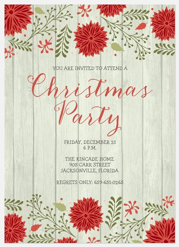 Rustic Christmas Celebration Holiday Party Invitations
