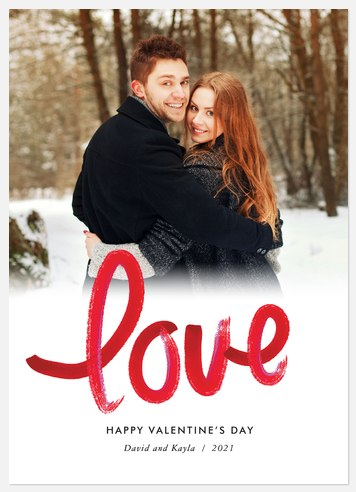 Lovely Brushstroke  Valentine Photo Cards
