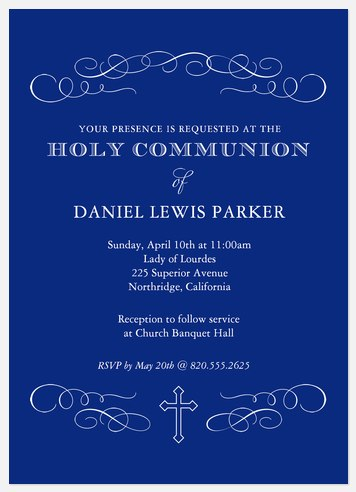 Scroll Announcement First Communion Invitations