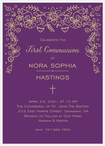 Lacy Floral First Communion Invitations