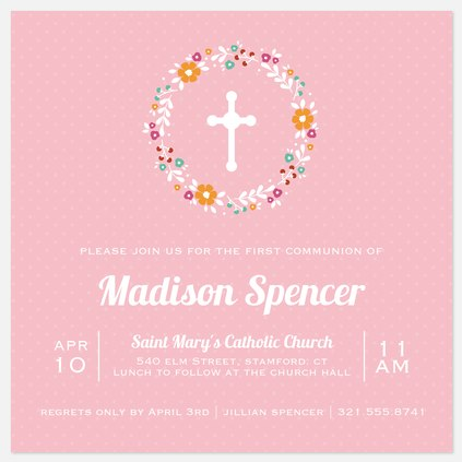 Floral Blessings First Communion Invitations