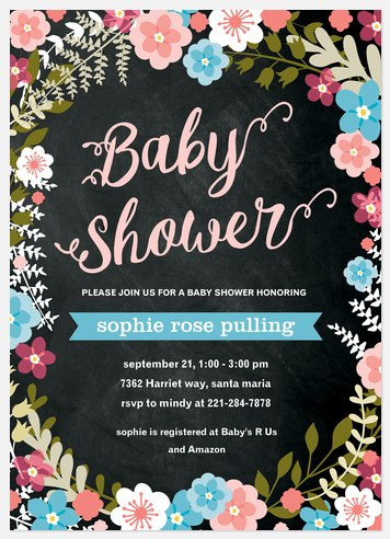 Floral Chalk Baby Shower Invitations