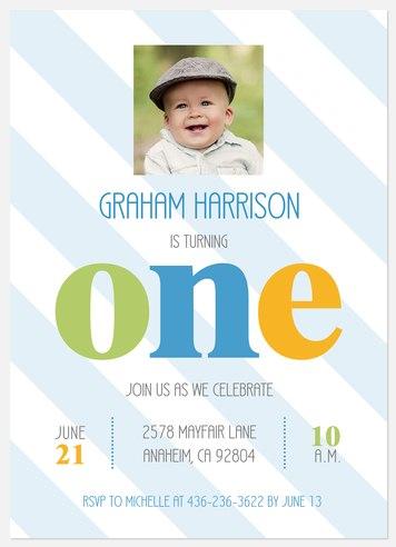 Wonderful Stripes Kids' Birthday Invitations