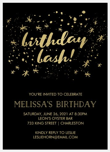 Speckled Stars Adult Birthday Invitations