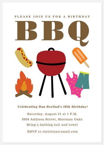 BBQ Time Adult Birthday Invitations