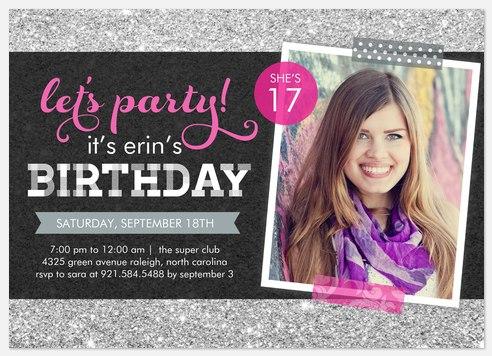 Glittering Celebration Kids' Birthday Invitations