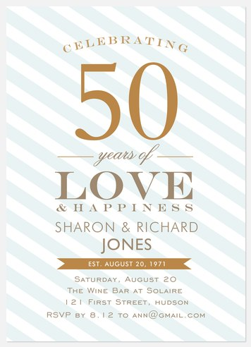 Blue Anniversary Stripe Anniversary Invitations
